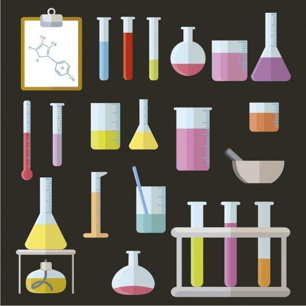 Elementos de laboratório em design plano Vetor grátis