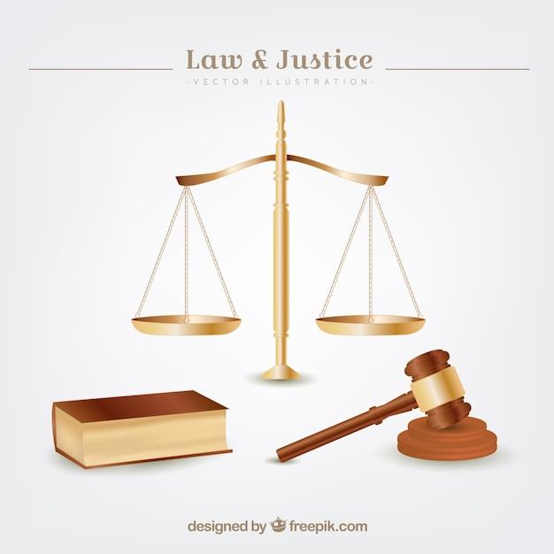 Elementos de lei e justiça Vetor grátis