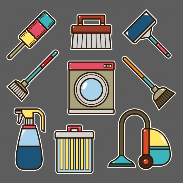 Elementos de limpeza de design Vetor grátis