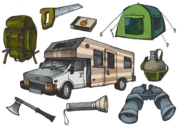 Elementos de mão desenhada de campismo Vetor Premium