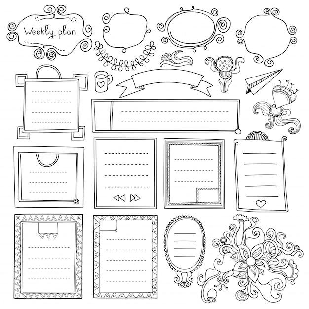 Elementos de mão desenhada de diário de bala para notebook, diário e planejador. bandeiras doodle isoladas no fundo branco. dias da semana, notas, lista, molduras, divisórias, fitas, flores. Vetor Premium