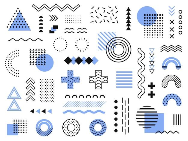 Elementos de memphis. gráfico retro funky, desenhos de tendências dos anos 90 e coleção de elementos de impressão geométrica vintage Vetor Premium