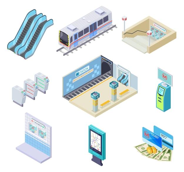 Elementos de metro isométricos. trem do metrô, plataforma da estação e escada rolante, catraca e túnel subterrâneo. coleção de metrô 3d Vetor Premium