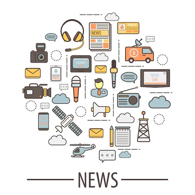 Elementos de mídia para coleta de notícias e tradução Vetor Premium