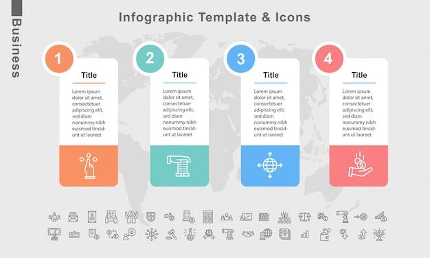 Elementos de modelo e negócios infográfico layout de diagrama de vetor fluxograma Vetor Premium