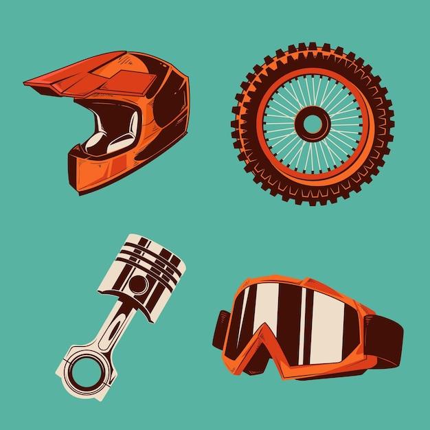 Elementos de motocross de design retro Vetor grátis