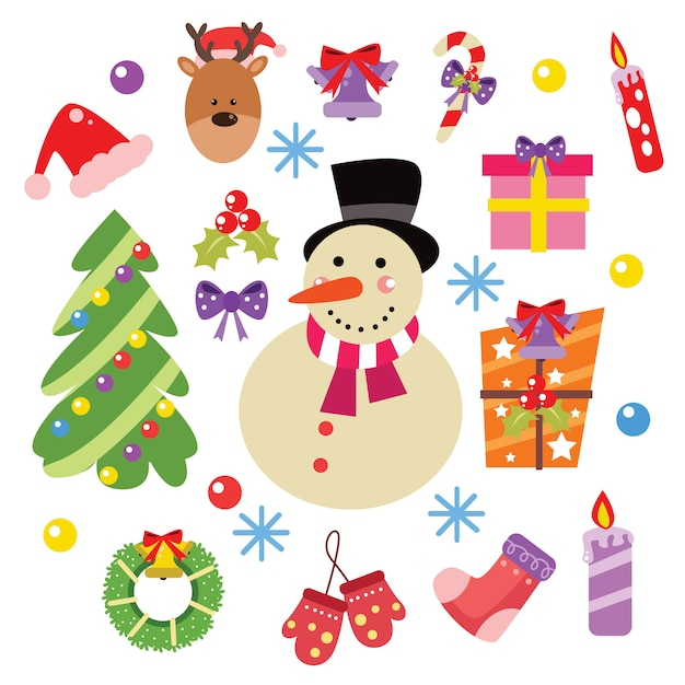 Elementos de natal e decoração cartoon conjunto de vetores Vetor Premium