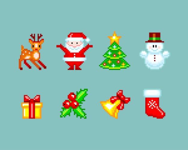 Elementos de natal no estilo pixel-art. ilustração isolada em fundo azul liso Vetor Premium