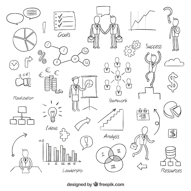 Elementos de negócios esboçado Vetor grátis