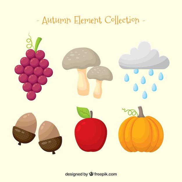 Elementos de outono com estilo divertido Vetor grátis