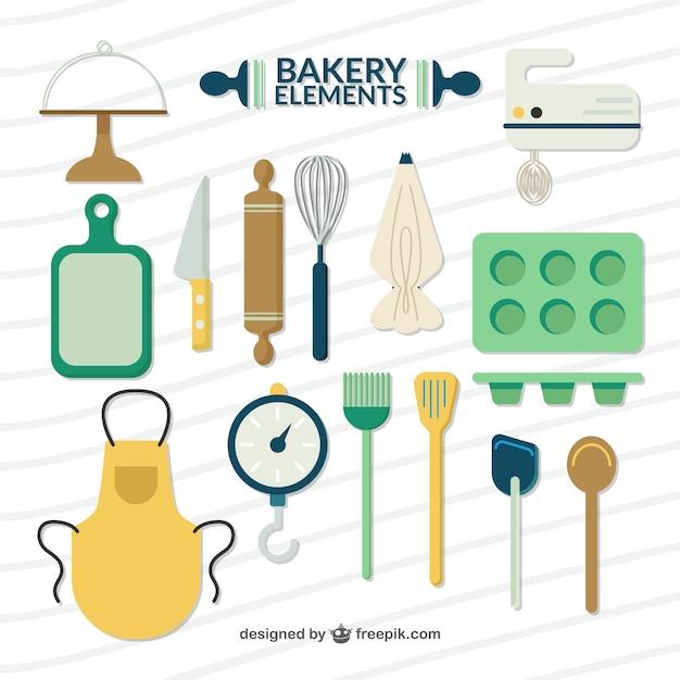 Elementos de padaria planas e acessórios Vetor grátis