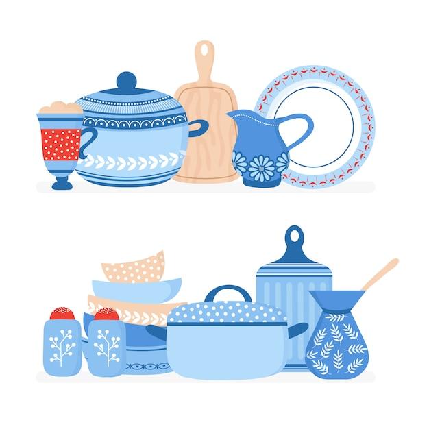 Elementos de panelas de desenhos animados. louças de cozinha, ferramentas de cozinha vector conjunto isolado Vetor Premium