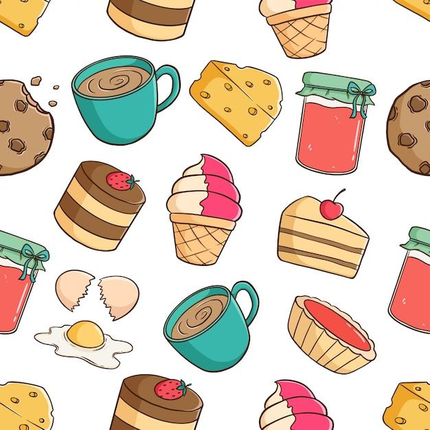 Elementos de pastelaria fofo no padrão sem emenda com geléia de morango, café, biscoito e fatia de bolo no fundo branco Vetor Premium