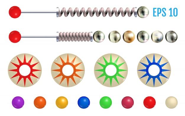 Elementos de pinball coloridos realistas. Vetor Premium