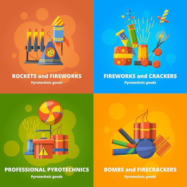 Elementos de pirotecnia para festa Vetor Premium