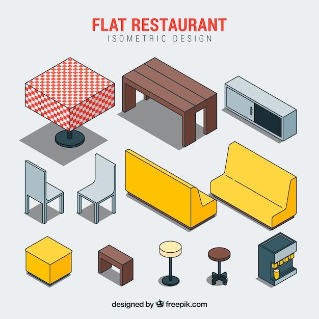 Elementos de restaurante plano e isométrico Vetor grátis