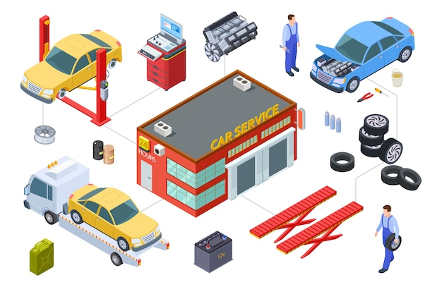 Elementos de serviço de carro isométrico Vetor Premium