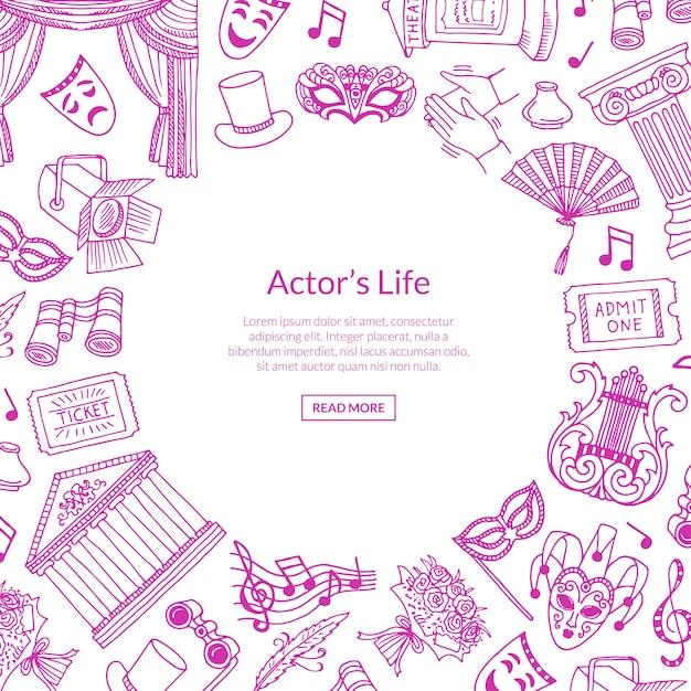 Elementos de teatro doodle ilustração de fundo com lugar para texto no centro Vetor Premium