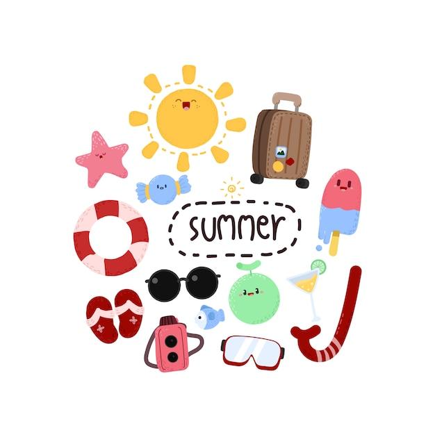 Elementos de verão dos desenhos animados Vetor Premium