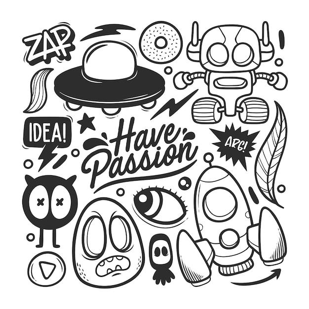 Elementos de vetor de doodle desenhado à mão Vetor grátis
