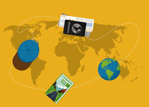 Elementos de viagem no mapa do mundo Vetor Premium