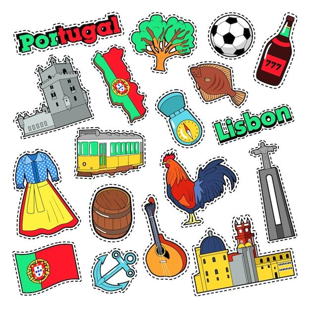Elementos de viagens de portugal com arquitetura para emblemas, adesivos, impressões. doodle vector Vetor Premium