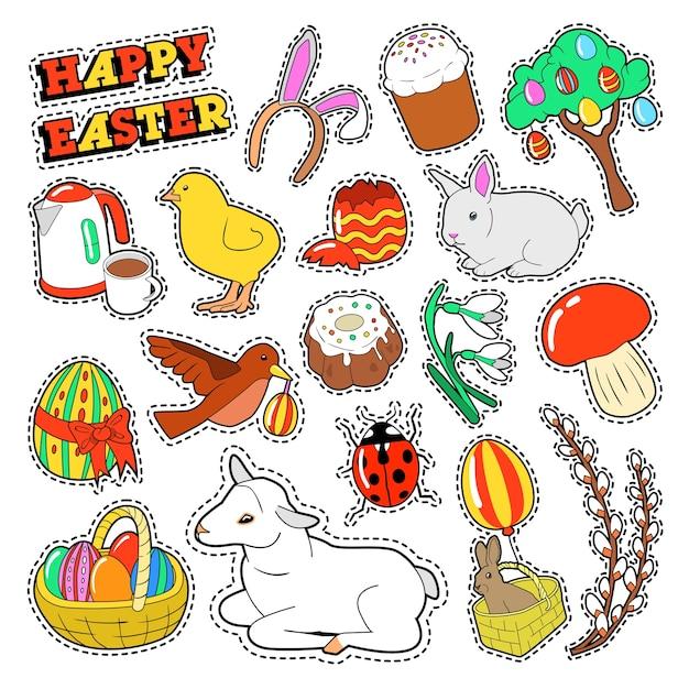Elementos decorativos de feliz páscoa com coelho, ovos tradicionais e comida para adesivos, emblemas, patches. Vetor Premium