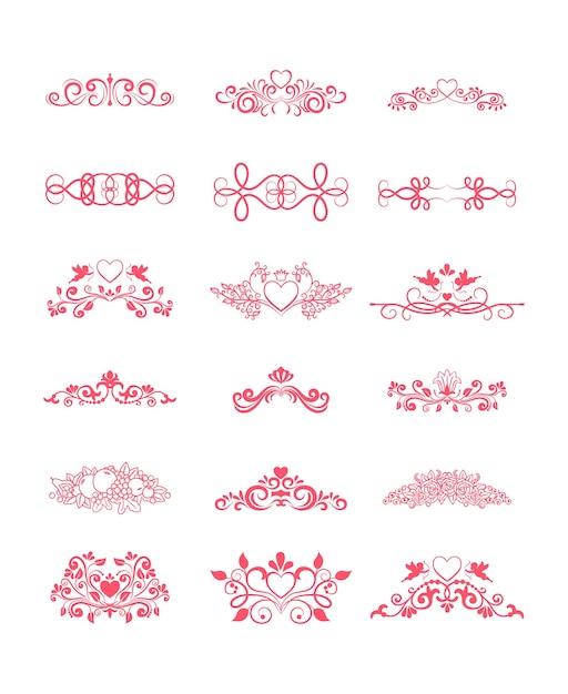 Elementos decorativos de vetor encaracolado rosa com corações e flores Vetor grátis