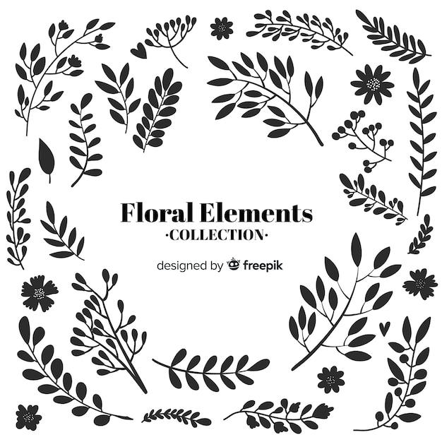 Elementos decorativos florais desenhados a mão incolor Vetor grátis