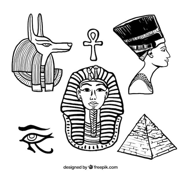 Elementos desenhados mão do egípcio Vetor grátis