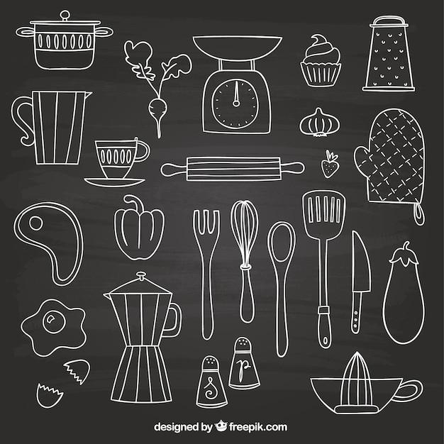Kitchen Design Drawing With Color: Elementos Desenhados Mão Para Cozinhar