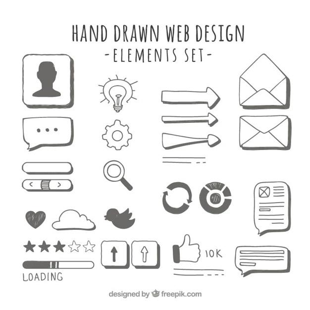 Elementos desenhados mão web Vetor grátis