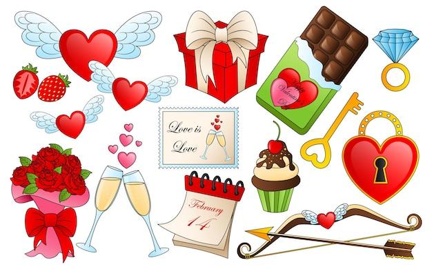 Elementos diferentes do dia dos namorados. desenhos animados de ícones de amor e paixão, adesivos para o design de itens do dia dos namorados Vetor Premium