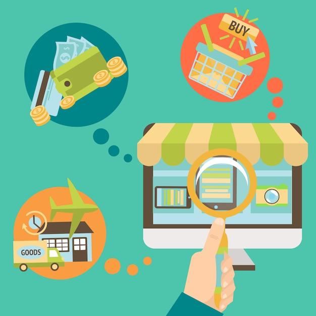 Elementos diferentes sobre compras on-line Vetor grátis