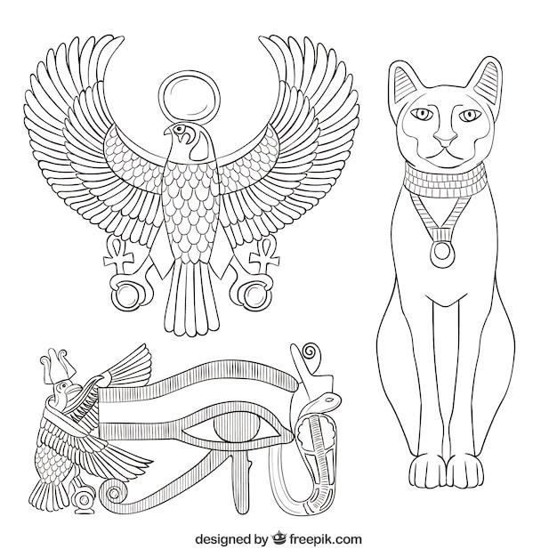 Elementos do antigo egito Vetor grátis