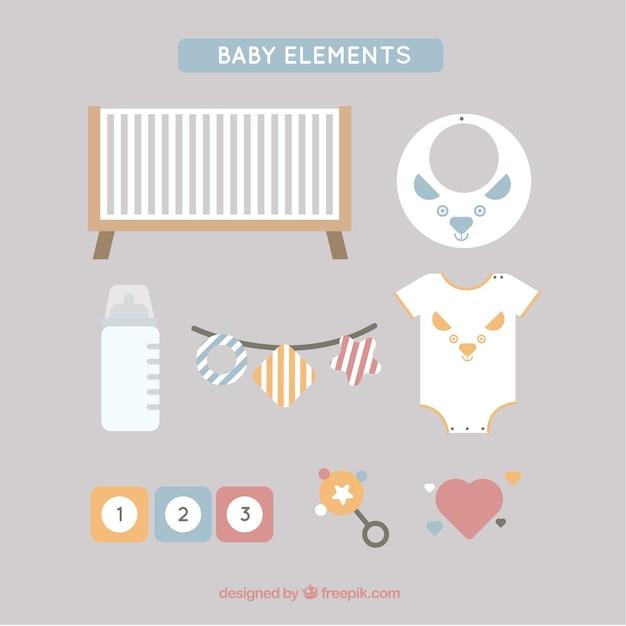 Elementos do bebê fantásticas em design plano Vetor grátis