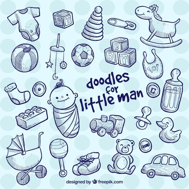 Elementos do bebê no estilo do doodle Vetor grátis