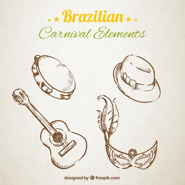 Elementos do carnaval brasileiro esboçado Vetor grátis