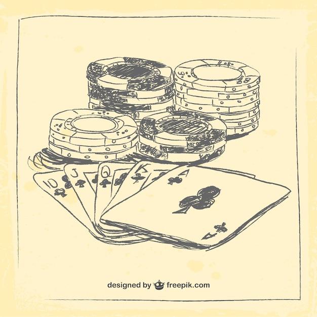 Elementos do casino desenho Vetor Premium