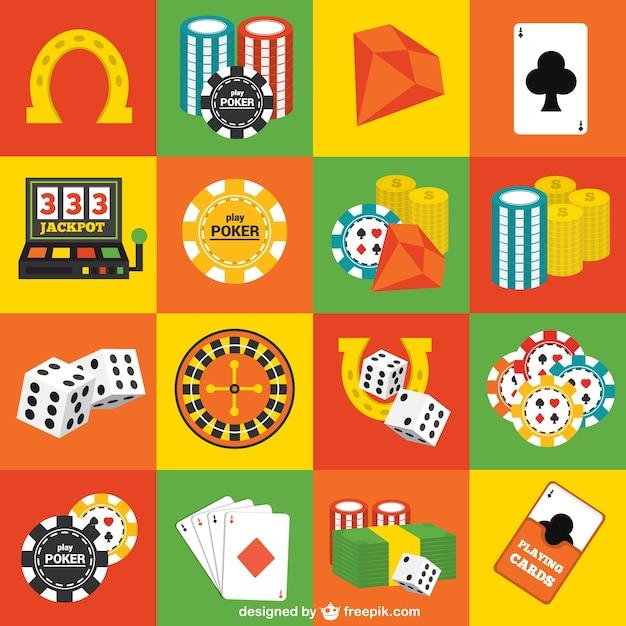 Elementos do casino embalar Vetor grátis