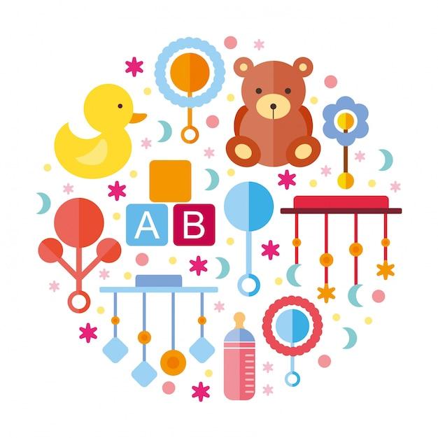 Elementos do chuveiro para bebés Vetor grátis