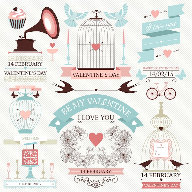 Elementos do dia dos namorados. conjunto de ícones de casamento do vintage Vetor Premium