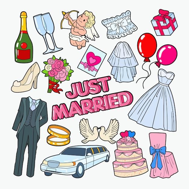 Elementos do doodle do dia do casamento Vetor Premium