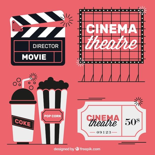 Elementos do filme do vintage em três cores Vetor grátis