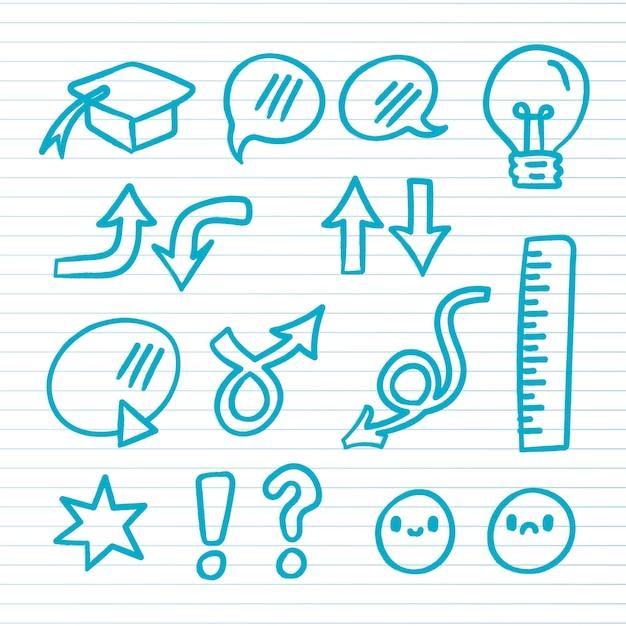 Elementos do infográfico da escola desenhados à mão Vetor Premium