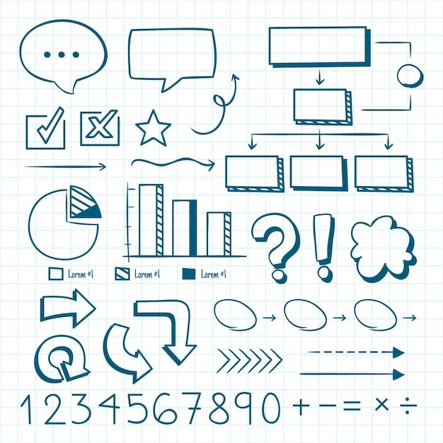Elementos do infográfico da escola desenhados à mão Vetor grátis