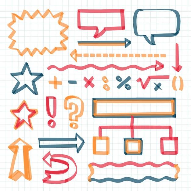 Elementos do infográfico escolar com coleção de marcadores coloridos Vetor grátis