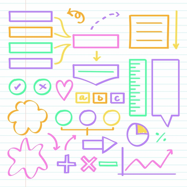 Elementos do infográfico escolar com conjunto de marcadores coloridos Vetor Premium