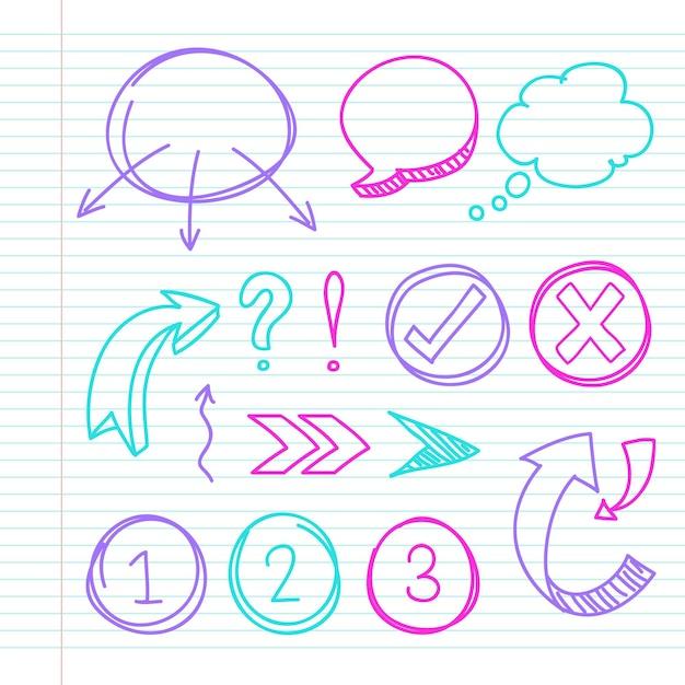 Elementos do infográfico escolar com marcadores coloridos Vetor Premium