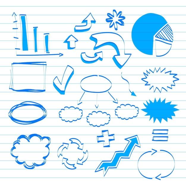 Elementos do infográfico escolar desenhado à mão Vetor grátis
